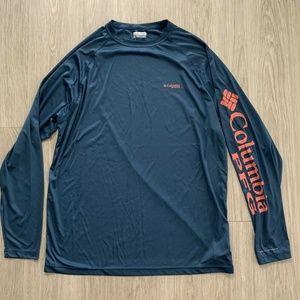 Columbia PFG Shirt Long Sleeve Blue XL Performance